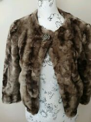 Womens Mink Coloured Fully Lined Faux Fur Jacket Size 12 Uk