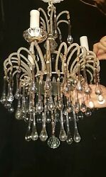 Vintage Glass And Beaded Chandelier Elongated Crystal As Is Parts Only Nice