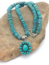 Sale Navajo Sterling Silver Blue Turquoise Necklace Cluster Pendant 19andrdquo 4075