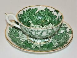Coalport Bone China England Ivy Green Leaves 4891-c Set Footed Cup And Saucer