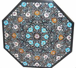 42 X 42 Black Marble Dining Floral Table Top Semi Precious Stones Inlay Work