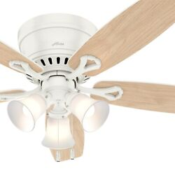 Hunter Fan 52 Inch Low Profile Fresh White Ceiling Fan With Light And Pull Chain