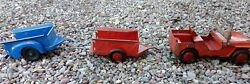 Marx Willy's Jeep And Trailer Toy Red Truck Original Condition W Bonus 3 Pieces