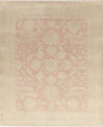 Antique Muted Floral Oushak Oriental Area Rug Hand-knotted Wool Pink Carpet 8x10