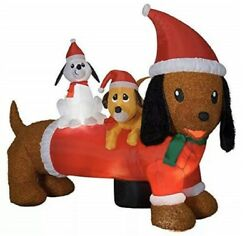 Christmas Santa Dachshund Wiener Dog And Puppies Airblown Inflatable 5 Ft X 6.5'