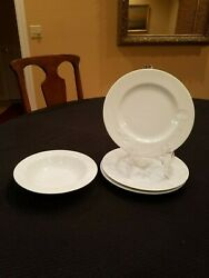 3 Mikasa Classic Flair White 8 Salad Plates And One 7-1/4 Cereal Bowl-mint