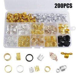 200Pcs Coil Hair Braid Rings Hair Braid Cuffs Beads Dreadlocks Accessories Set