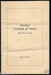 Rare Original 1932 Pamphlet Further Criticism Of Poetry By H.p. Lovecraft