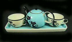"""Huesnbrews - """"tea For Two Set"""" - """"cattitude"""" - 5 Pc Set In Org Box - Unused"""