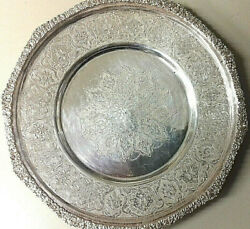 Pair Of Persian Antique Solid Silver Plates Engraved Handmade Mark 84