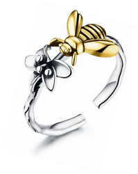 925 Sterling Silver Cute Bee Ring Adjustable Open Engagement Rings Toe Band