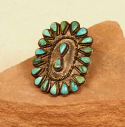 Size 7 Antique Zuni Silver And Teardrop Petit-point Turquoise Ring C1940 2x1.5
