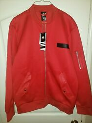 Adidas Scarlet Red Dame Core Bomber Embossed Jacket Ao1644 Nwt Szl Rare