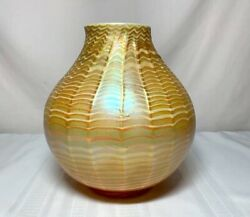 TIFFANY FAVRILE OIL LAMP LIGHTING SHADE RIBBED GOLD IRIDESCENT WAVE PATTERN~~~~