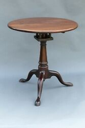 Antique Queen Anne Mahogany Pedestal Table With Bird Cage 1 Board Top