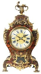 A good quality 19th century French Boulle inlaid mantel (fireplace) Clock