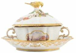 A Good Quality 19th century Meissen two handled lidded Pictorial Tureen