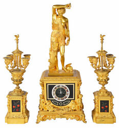 A very good quality 19th Century gilded ormolu Louis XVI style clock garniture