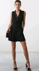 Designer Reiss Freda Tux Front Playsuit Size 4 --brand New-- Black With Pockets