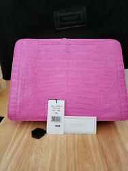 Nancy Gonzalez Crocodile Clutch Bright Pink, New With Tags, Dust Bag, Colombia