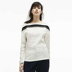 Lacoste Womenand039s Made In France Contrast Neck Sweatshirt Size 32 Small Off-wht