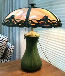 Antique American Craftsman Green-glazed Pottery Table Lamp Patinated Glass Shade