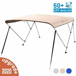 3 Bow Boat Bimini Top Cover Boat Canopy Shade With Support Pole Boot Beige 67-72