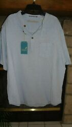 ROUNDTREE amp; YORKE CARIBBEAN LIGHT BLUE PULL OVER CASUAL MEN#x27;S SHIRT SIZE L $15.99