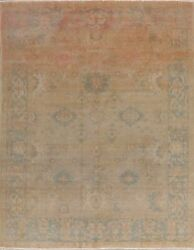 8x10 Antique Geometric Oriental Oushak Vegetable Dye Hand-knotted Wool Area Rug
