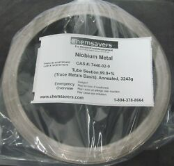 Niobium Metal Tube Section 99.9+ Trace Metals Basis Annealed 3243g