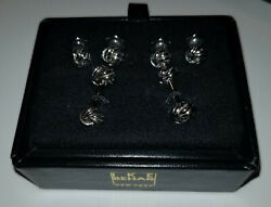 Ike Behar - Cufflink and Stud Formal Set - Stainless Steel Knots - Cufflinks