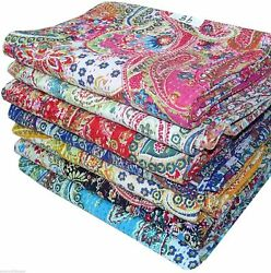 Twin Indian Work Paisley Cotton Kantha -quilt -throw -blanket Bed Cover Spread