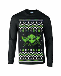 693 Baby Yoda Long Sleeve Shirt Ugly Christmas Sweater Party holiday gift jedi