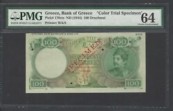 Greece 100 Drachmai Nd1944 P170cts Specimen Color Trial Uncirculated