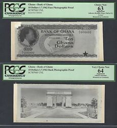 Ghana 10 Dollars 1-7-1962 Pick Unlisted Face - Back Photographic Proof