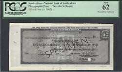 South Africa 5 Rand 1967 Travel Cheque Photographic Proof Unciruclated