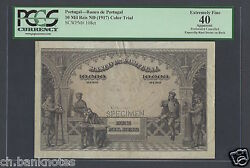 Portugal 10000 Reis Nd 1917 Specimen Color Trial Extremely Fine