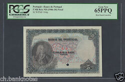 Portugal 5 Mil Ries Nd1906-10 P104p Proof Specimen Uncirculated