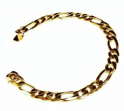 14kt Solid Yellow Gold Handmade Figaro Curb Link Mens Bracelet 8.5 32 Grms 9 Mm