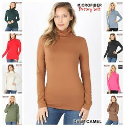 Womens BUTTERLY SOFT Mock Turtleneck Long Sleeve Microfiber Top REG N PLUS S 3X $8.50