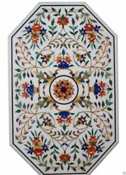 48 X 24 Decorative Marble Center Table Top Floral Inlay Work