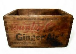 Rare Country Club Ginger Ale Vint Rd/blk Stamped Wood Soda Crate Springfield, Ma