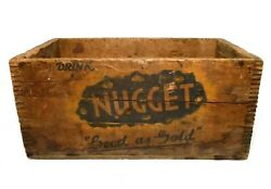 Rare Early 20th C Vint Nugget Ginger Ale Wood Box Soda Crate Blk/ylw Ink Prov Ri