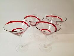 Set Of Four Ruby Red Swirline Martini Cosmos Glasses Pier 1