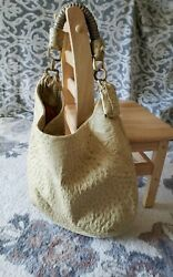 Nuti Ostrich Skin Leather Shoulder Bag And Gold Handle Hardware Made In Italy