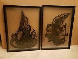 2 Portraits Of Indian/hindu Deities Framed In Frosted Glass