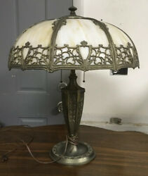 Antique Slag Glass Overlay Table Lamp 25 1/2andrdquo Tall