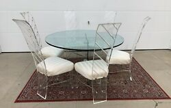 Mid-century Andnbsplucite And Glass Andnbspdining Set Andnbsp 6 Chairs