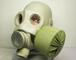 Vintage Soviet Russian Ussr Military Pmg Gas Mask + Filter+ Cover Size 1,2,3,4
