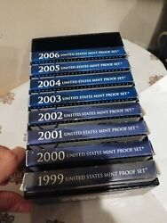 United States Mint Proof Set Years 1999 To 2006